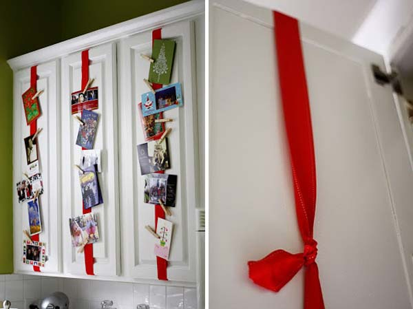 Tie Ribbon To Kitchen Cabinets To Display Your Christmas Cards #Christmas #hanginghacks #decorhomeideas