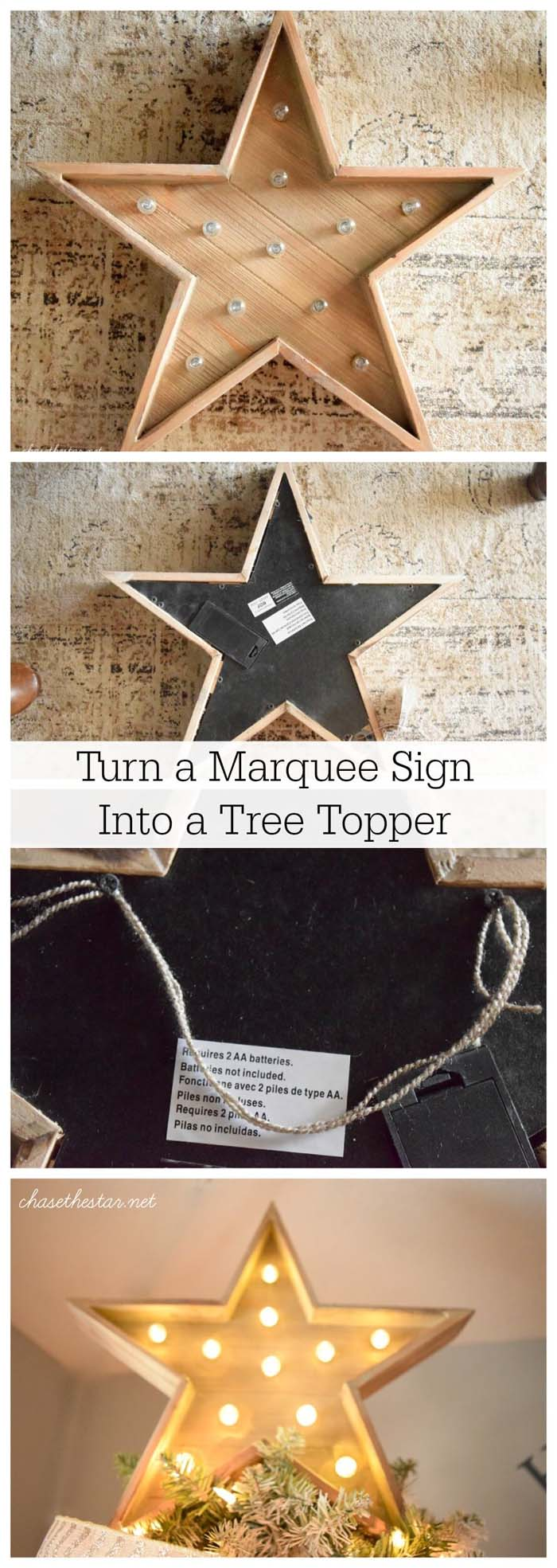 Turn a Star Marquee into a Tree-Topper #Christmas #crafts #decorations #decorhomeideas