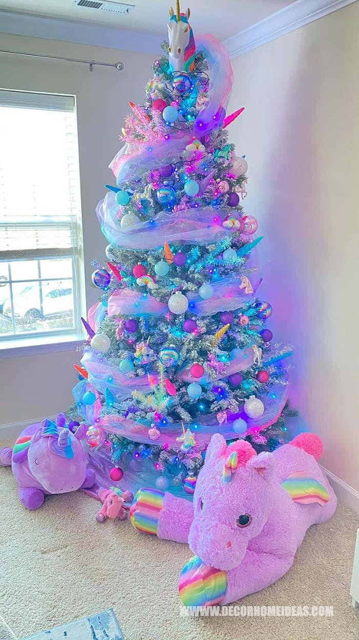 Unicorn Christmas Tree #Christmas #Christmastree #nontraditional #decorhomeideas