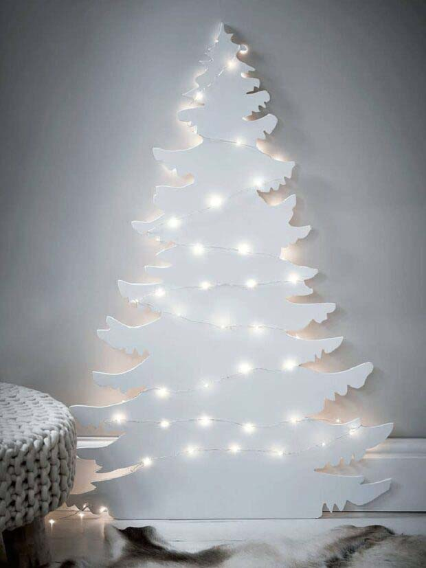 White Cut-Out #Christmas #Christmastree #nontraditional #decorhomeideas
