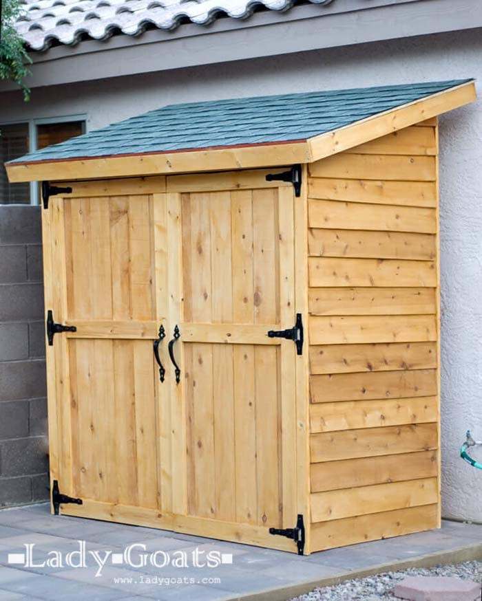 A Convenient Patio Shed with Large Doors #shed #garden #decorhomeideas