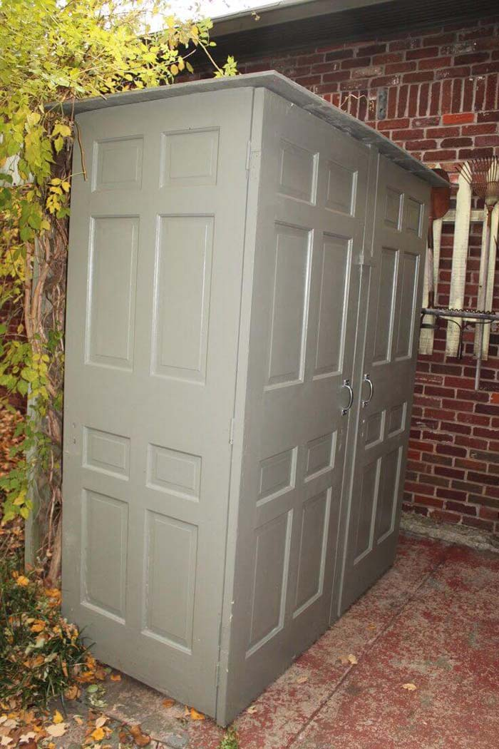 A Storage Shed Made from Recycled Doors #shed #garden #decorhomeideas