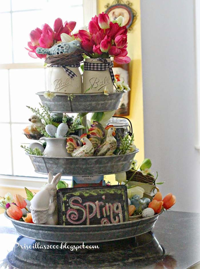 A Tiered Stand Makes a Cheerful Display #spring #decor #decorhomeideas