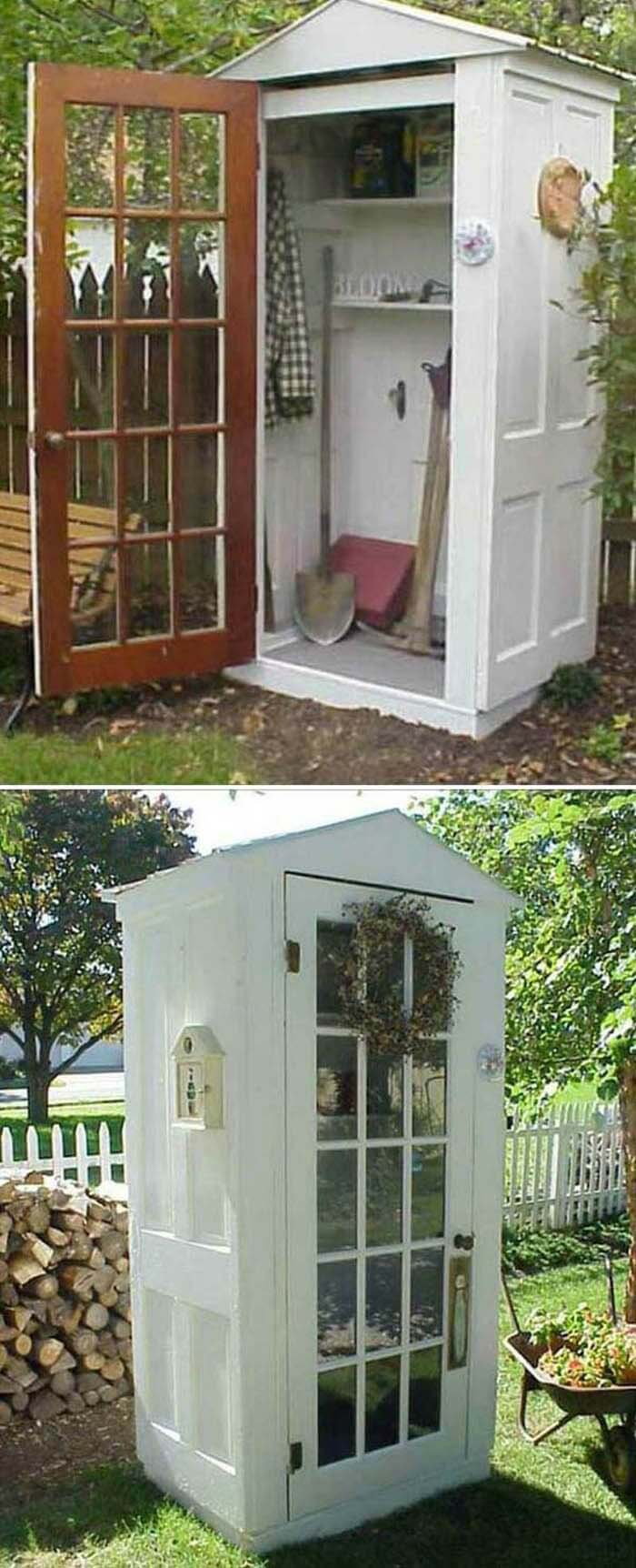 A Whimsical, Booth-Like, Glass Door Storage Shed #shed #garden #decorhomeideas