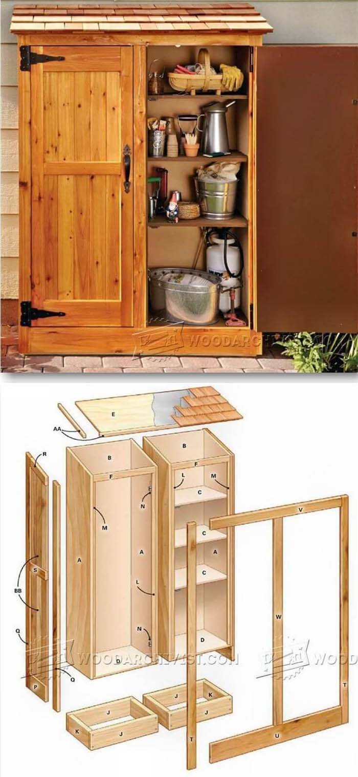 A Wooden Storage Cabinet with Shelves #shed #garden #decorhomeideas