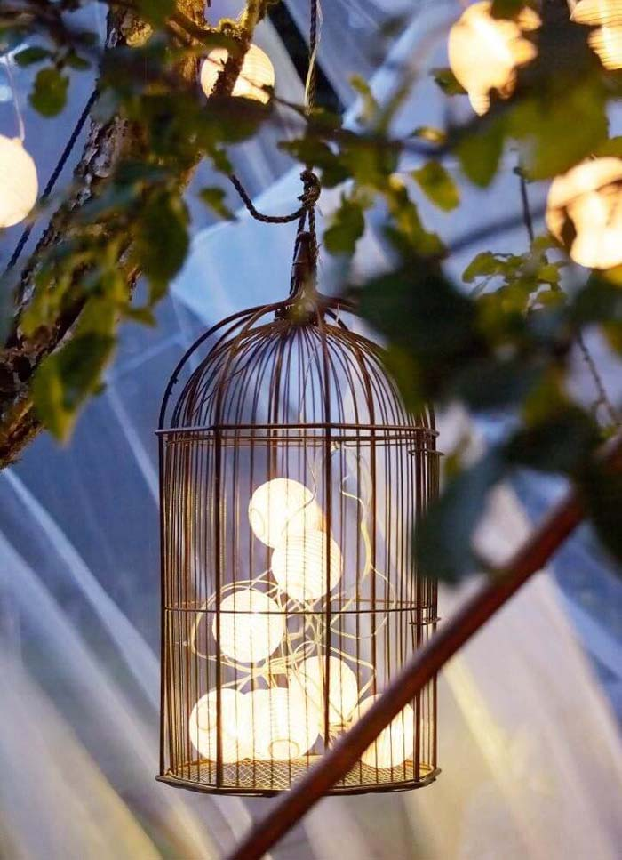 Add a Bird-cage to your Tree Lighting for Interest #lighting #yard #outdoor #decorhomeideas