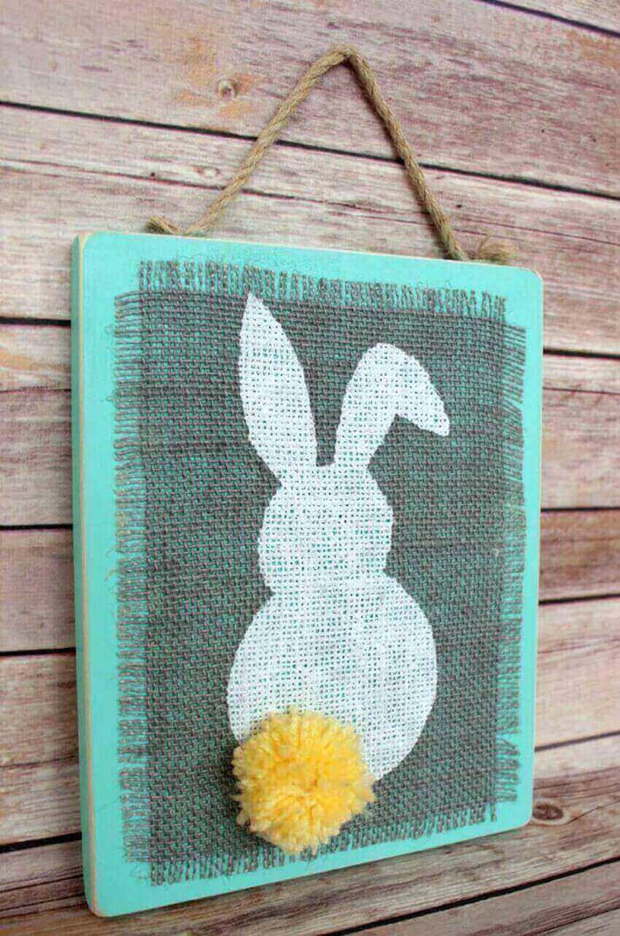 Adorable Burlap Rabbit with Fluffy Tail #spring #decor #decorhomeideas