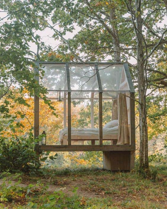 Airy Glass Cabin in the Woods #backyardhouse #decorhomeideas
