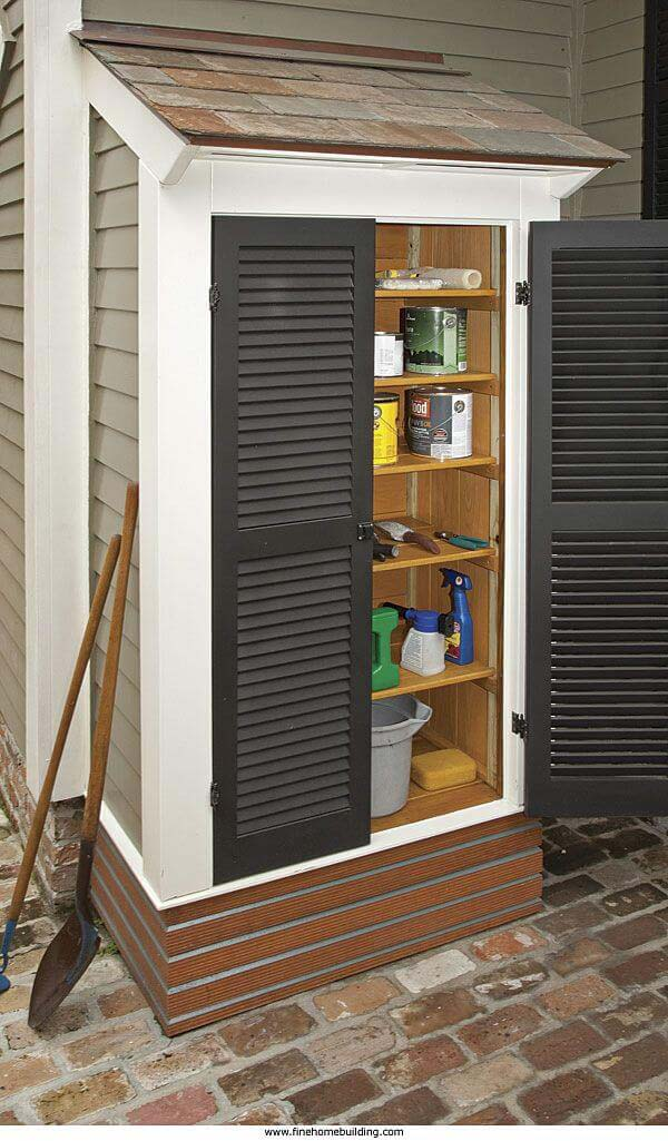 An Add-On Storage Space with Shudder-Style Doors #shed #garden #decorhomeideas