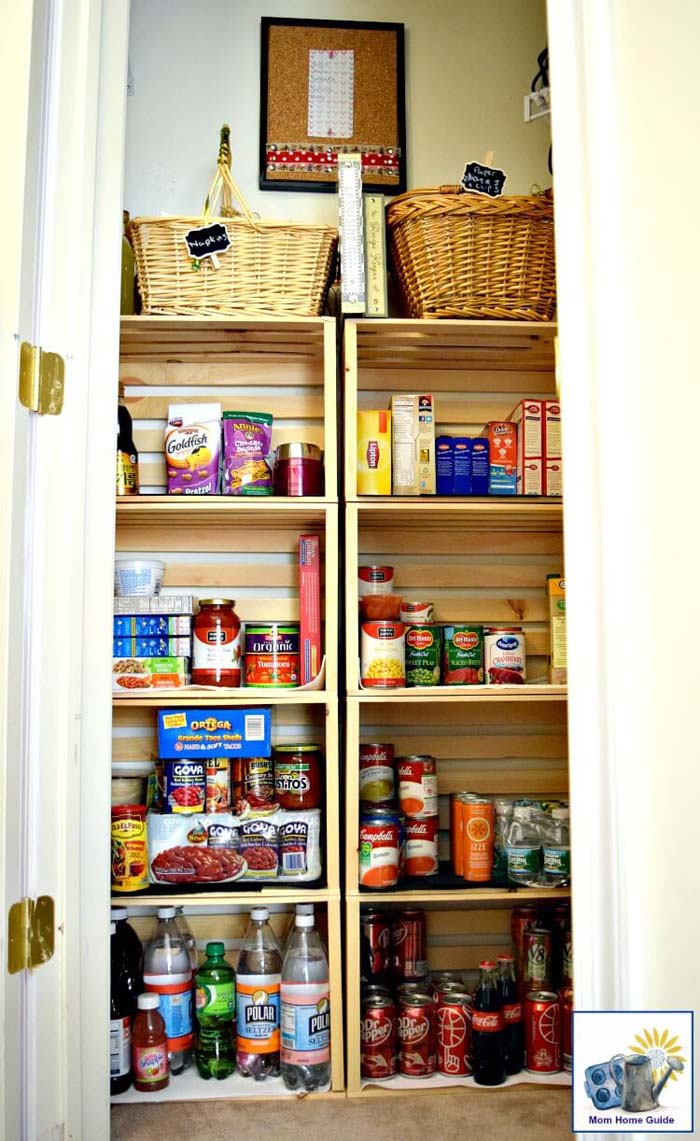 Another Coat Closet Conversion Using Crates #pantry #shelves #decorhomeideas