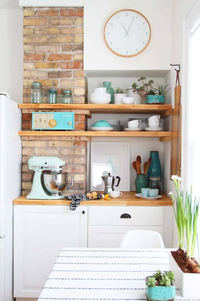 Aqua Accents Exposed Brick Cottage Kitchen #cottage #kitchen #decorhomeideas