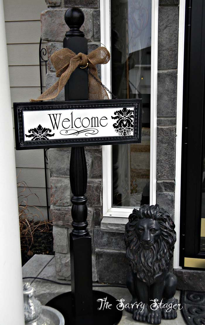 Baroque-Style Wood Post and Hanging Welcome Sign #porch #post #decorhomeideas