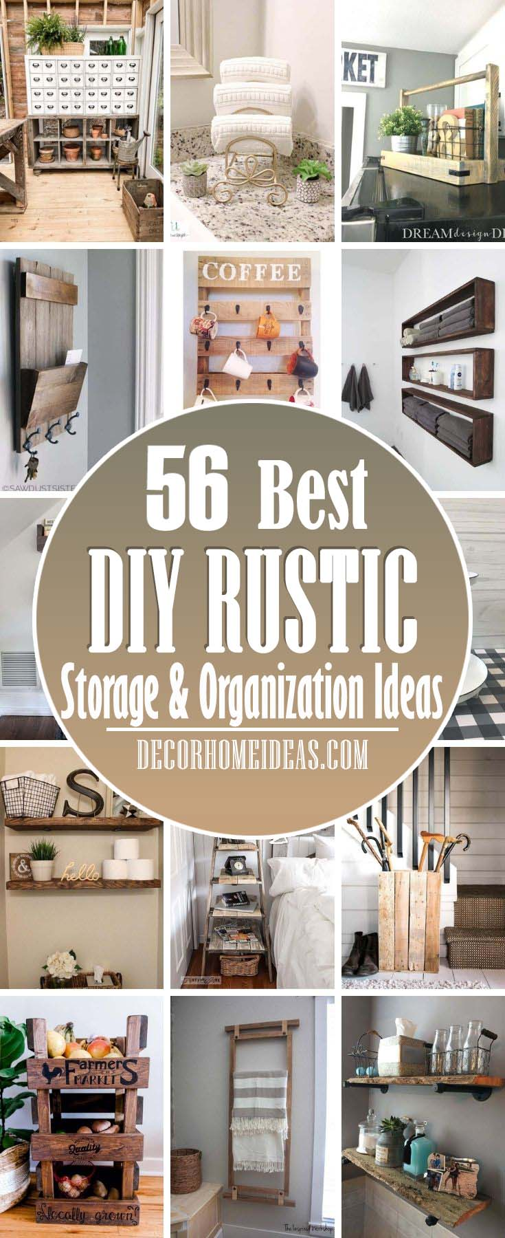 Best DIY Rustic Storage And Organization Ideas. These DIY rustic storage and organization ideas are perfect for decluttering your home. Each one adds a touch of rustic charm to the room and keeps everything in place. #decorhomeideas