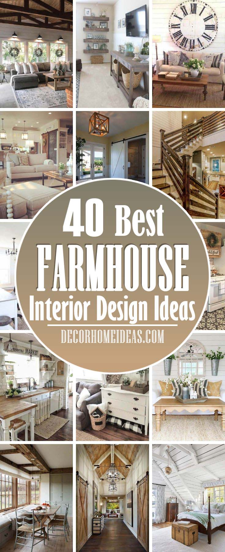 Best Farmhouse Interior Design Ideas. We never tire of beautiful farmhouse decor. Whether you're renovating your country bedroom or decorating your farmhouse kitchen, take cues from these simple and rustic rooms that will help you achieve a cozy home. #decorhomeideas
