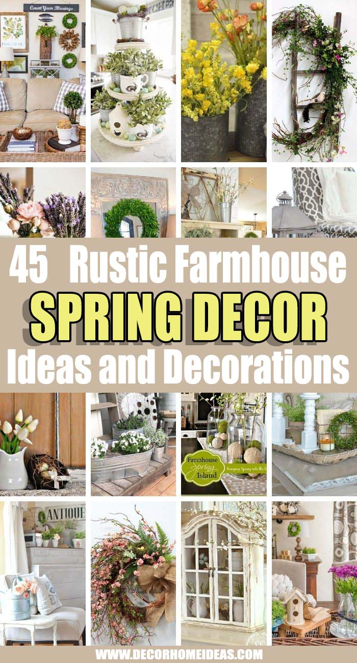 Best Rustic Farmhouse Spring Decor Ideas. Rustic farmhouse decor is beautiful in any season, but it is especially spectacular in spring!  If you are looking for ideas to add farmhouse spring decor to your home, here is inspiration that you don't want to miss – for mantels, tabletops, entryways and dining areas! #decorhomeideas