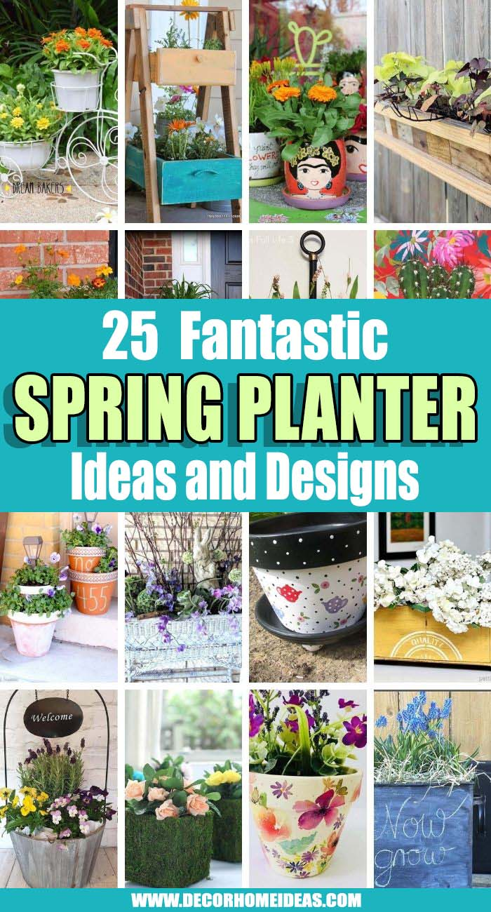 Best Spring Planter Ideas. Creating your own planters from well-loved but worn-out items or from found treasures adds a personal touch to your garden. These spring planter ideas will add more color to your home and garden. #decorhomeideas
