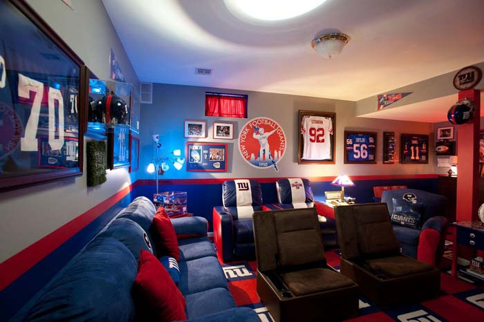 Bleeding Your Team's Colors During the Big Game #mancave #decorhomeideas