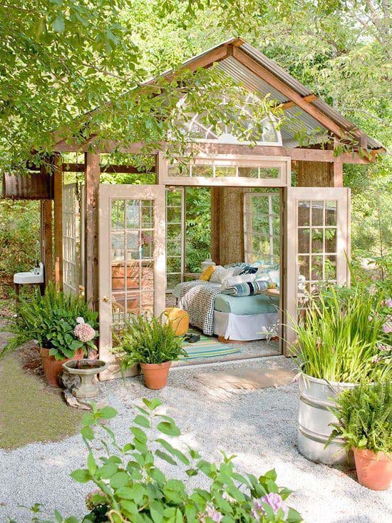 Breezy Outdoor Bedroom with Repurposed Windows #backyardhouse #decorhomeideas
