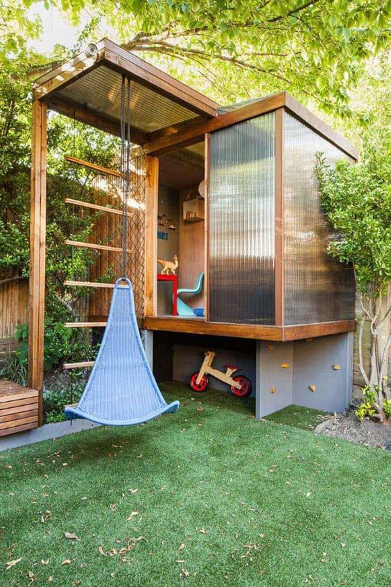 Bright and Modern Kids' Playhouse #backyardhouse #decorhomeideas