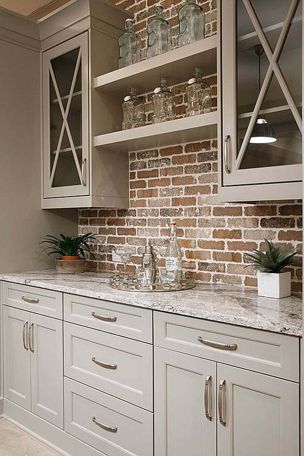 Brooklyn Brownstone Rustic Wood & Brick Cabinet Fixture #rustic #kitchencabinet #decorhomeideas