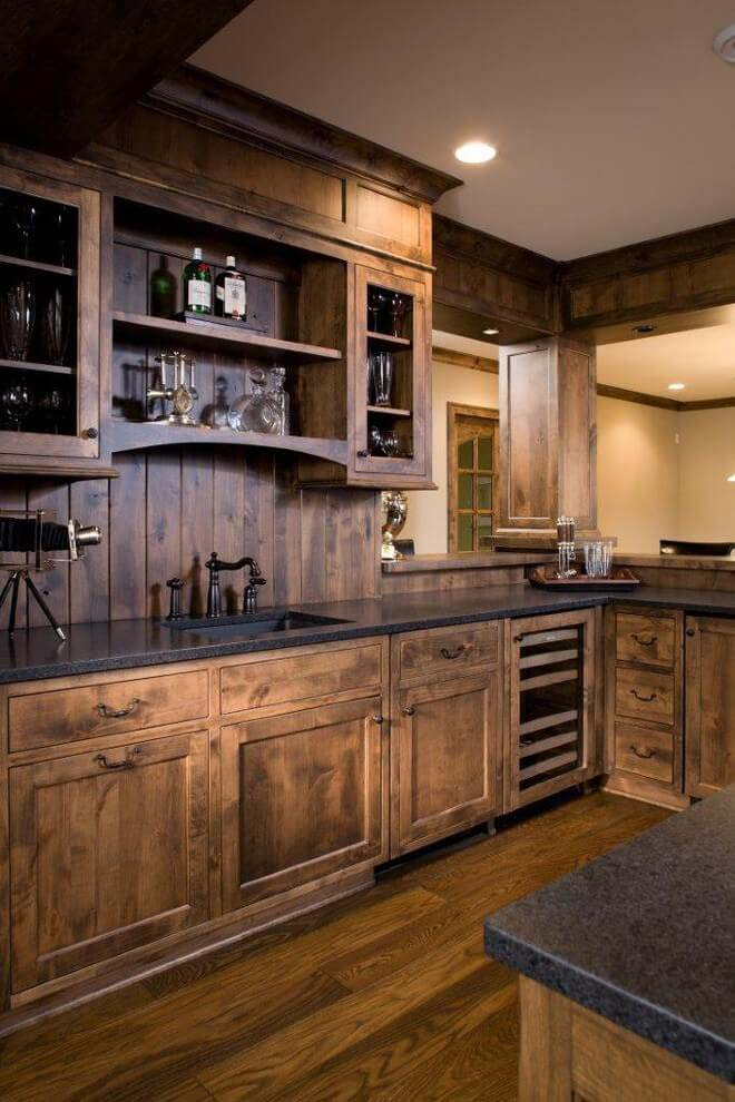 Cabin In The Wood-Paneled Kitchen #rustic #kitchencabinet #decorhomeideas