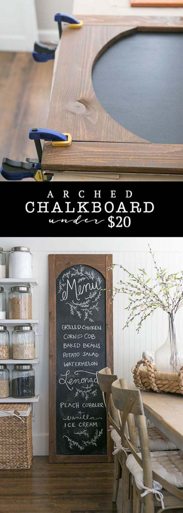 Cheap and Easy DIY Arched Chalkboard #walldecor #kitchen #decorhomeideas