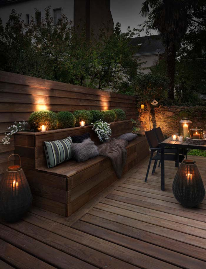 Couple Recessed Lighting and Candles for a Mellow Vibe #lighting #yard #outdoor #decorhomeideas