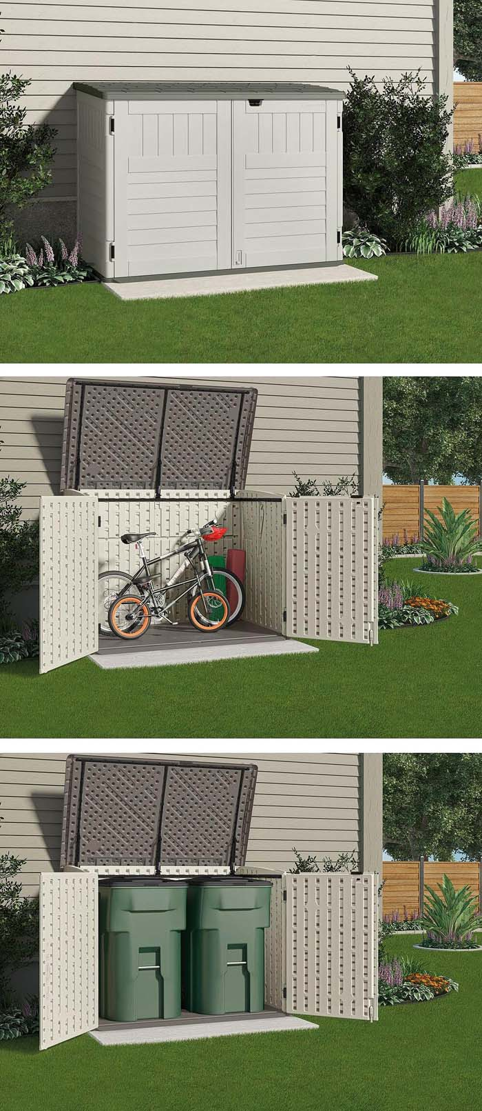 Covered, Two-Door Bike and Trash-Friendly Storage Unit #shed #garden #decorhomeideas