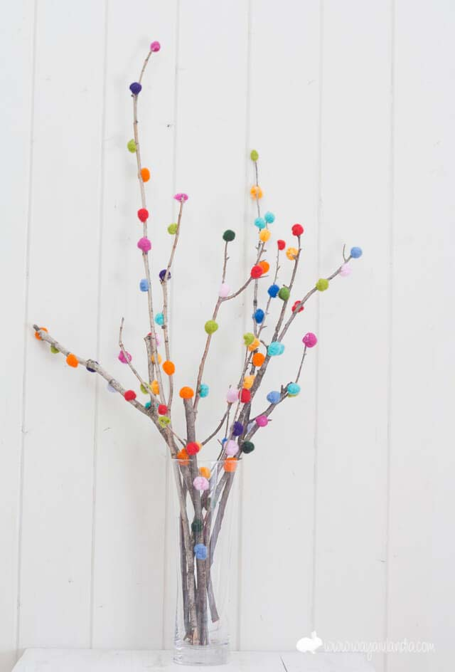 Create a Colorful Display with Pom-Pom Branches #spring #decor #decorhomeideas