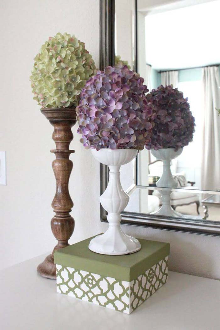 Create a Floral Display with Vintage Candlesticks #spring #decor #decorhomeideas