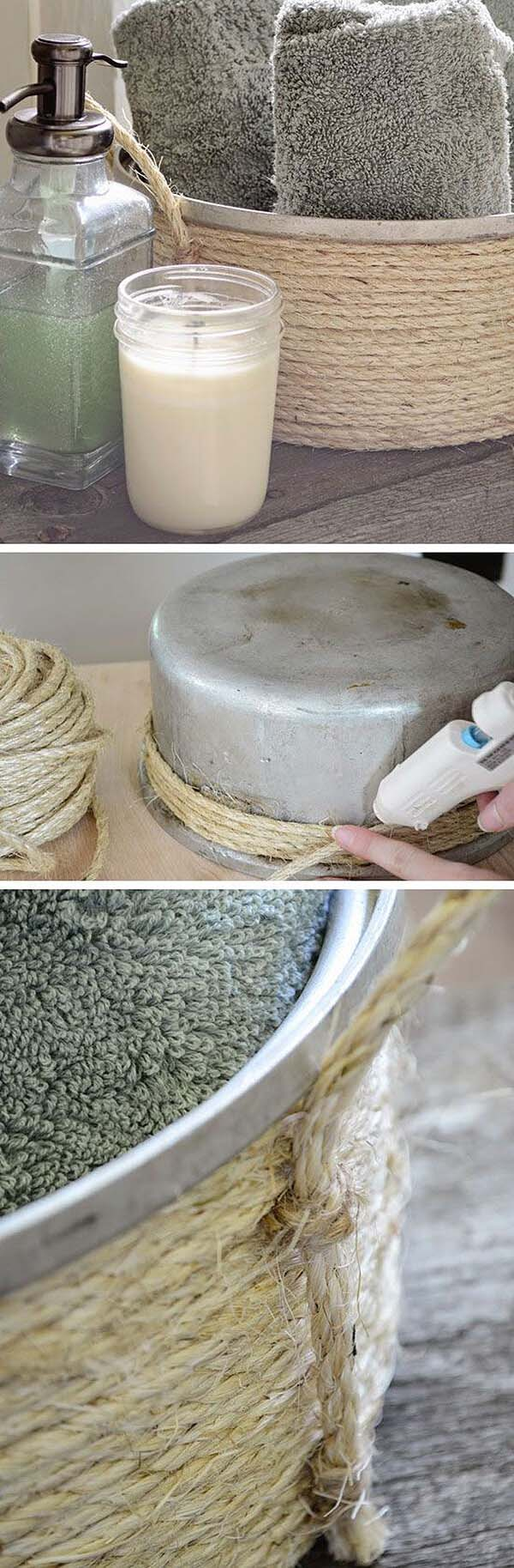 Creating A Basket Out Of An Old Kitchen Pot #rustic #storage #organization #decorhomeideas