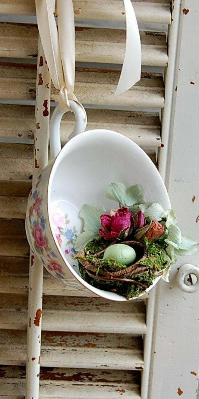 Delicate Teacup Bird's Nest Display #spring #decor #decorhomeideas