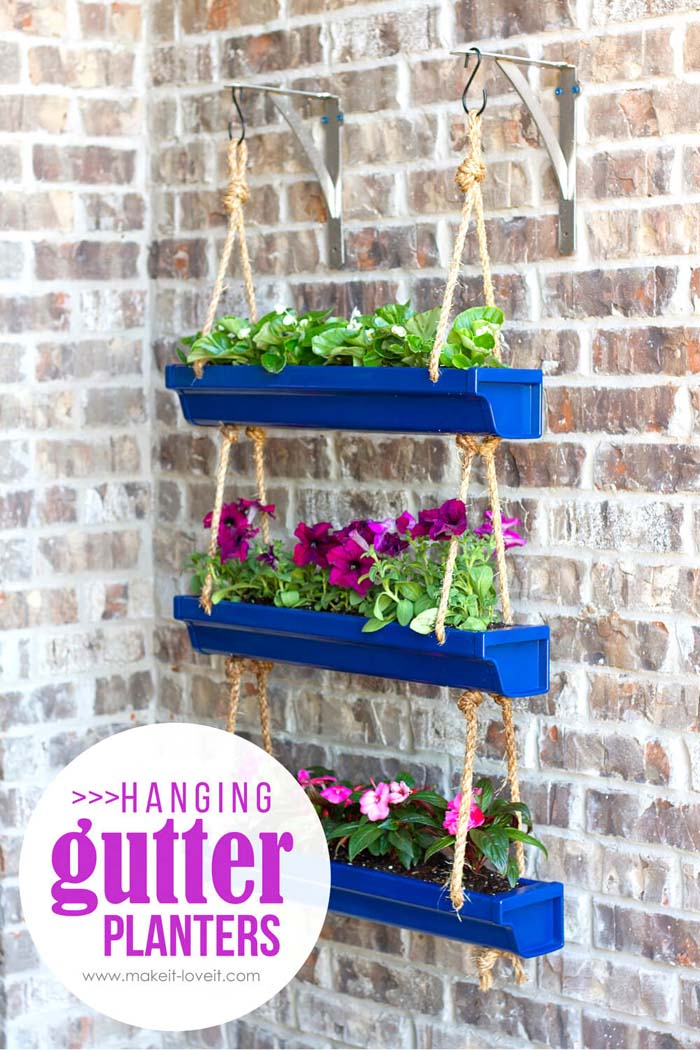 DIY Hanging Gutter Planters Project #spring #frontporch #decor #decorhomeideas