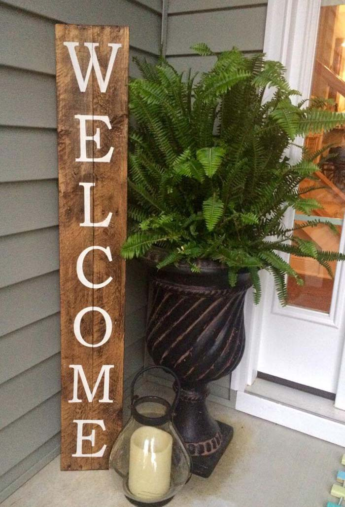 DIY Rustic Wood Welcome Sign #spring #frontporch #decor #decorhomeideas