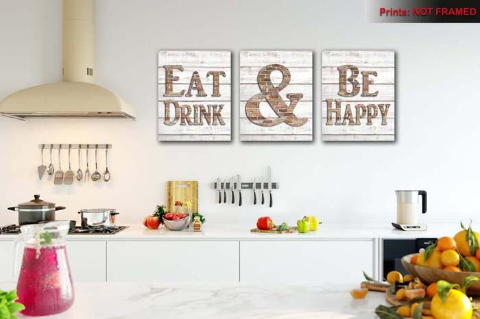 Eat and Be Happy Sign Trio #walldecor #kitchen #decorhomeideas
