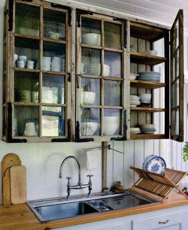 Enchanted Forest Glass Paneled Cabinets #rustic #kitchencabinet #decorhomeideas