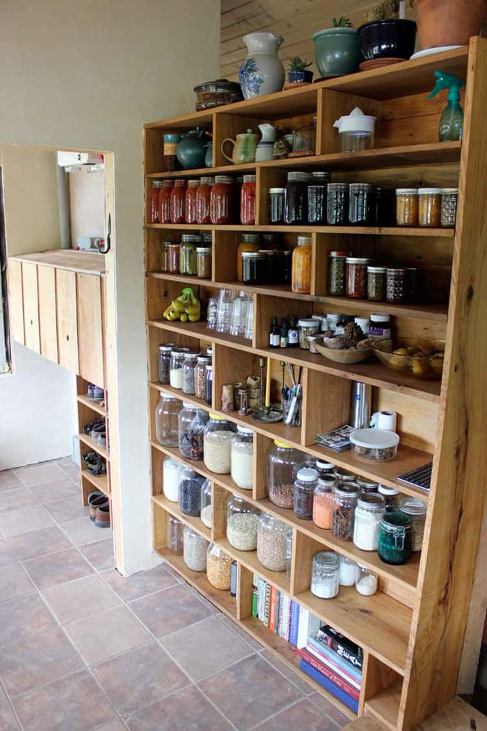 Farmhouse-style, Custom-made, Tiny Home Free-standing Pantry #pantry #shelves #decorhomeideas