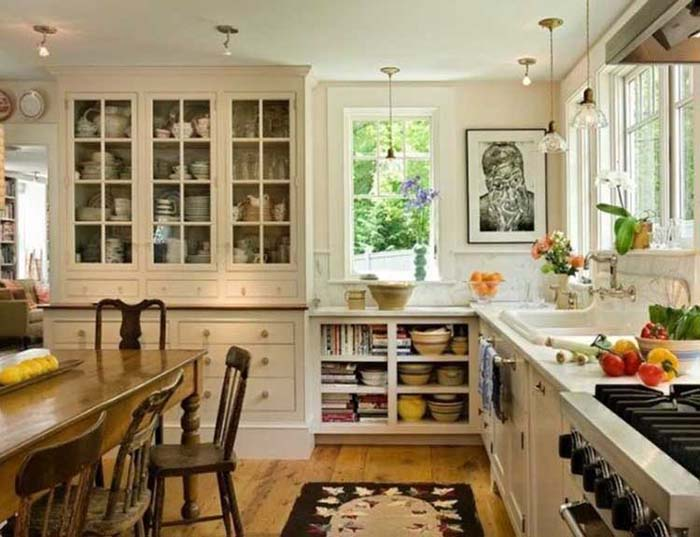 Glass-Front Cabinet Doors #rustic #kitchencabinet #decorhomeideas