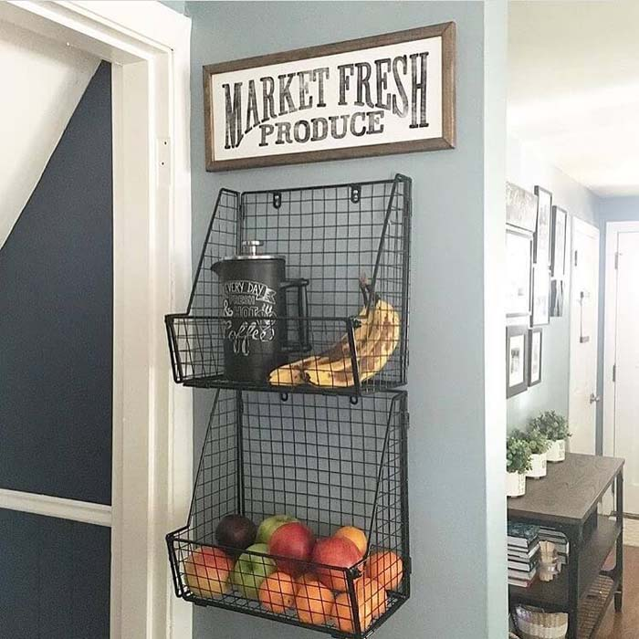 Hanging Produce Baskets With Sign #walldecor #kitchen #decorhomeideas