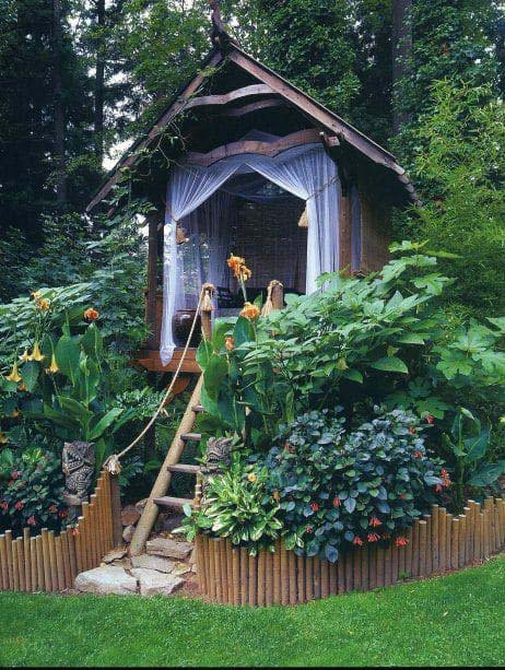 Hidden Cottage in the Trees #backyardhouse #decorhomeideas