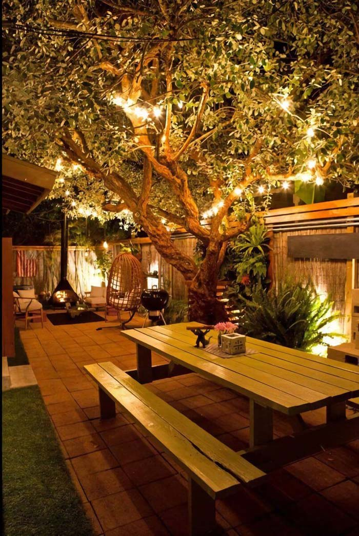 Highlight your Garden's Assets with Strung Lighting and Sconces #lighting #yard #outdoor #decorhomeideas
