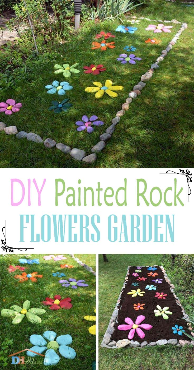 How To DIY Painted Rock Flowers Garden Tutorial. Looking for a way to spruce up your yard or garden? Grab some rocks and different spray paint colors and try this! These colorful rock flowers will be sure to brighten up your garden or backyard! If you love garden decor, colorful home decor and easy curb appeal -- this one's for you! #decorhomeideas