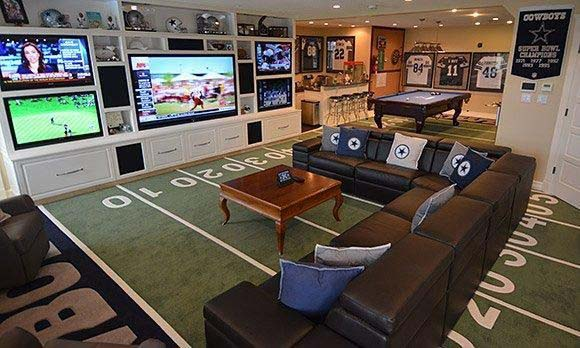 In the End Zone of Entertainment #mancave #decorhomeideas