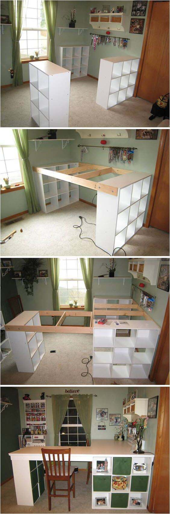 L-Shaped Work Space with Built-in Storage #diy #weekendproject #decorhomeideas