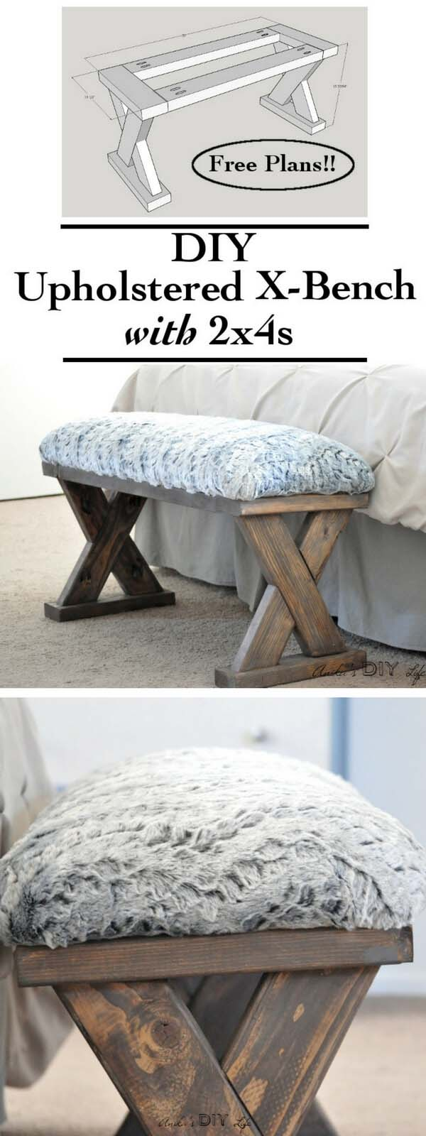 Make the Perfect DIY Upholstered X-Bench #diy #weekendproject #decorhomeideas