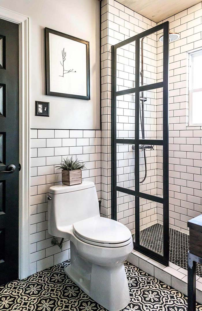 Manhattan Chic Black and White Tiling #showertiles #tiles #decorhomeideas