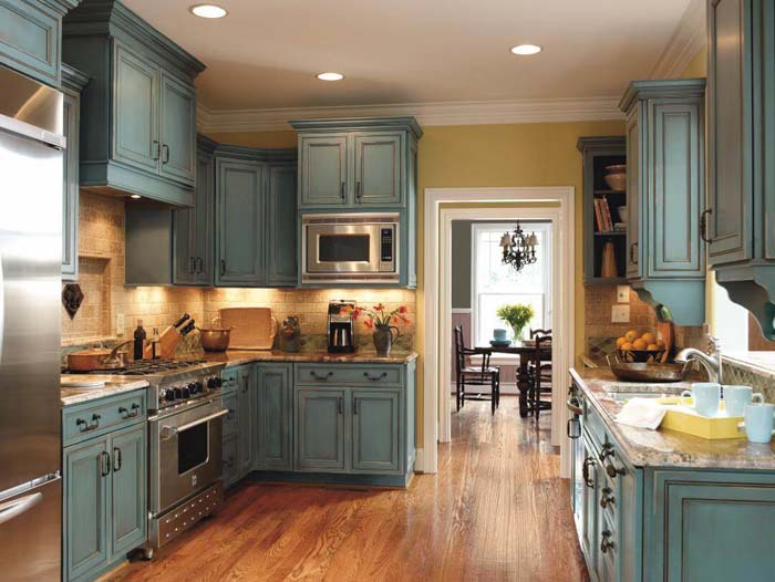 Mediterannean Blue Rustic Kitchen #rustic #kitchencabinet #decorhomeideas