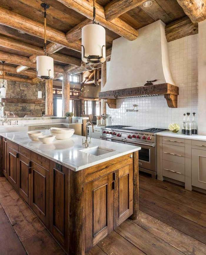 Mixing Old and New Cabinets #rustic #kitchencabinet #decorhomeideas