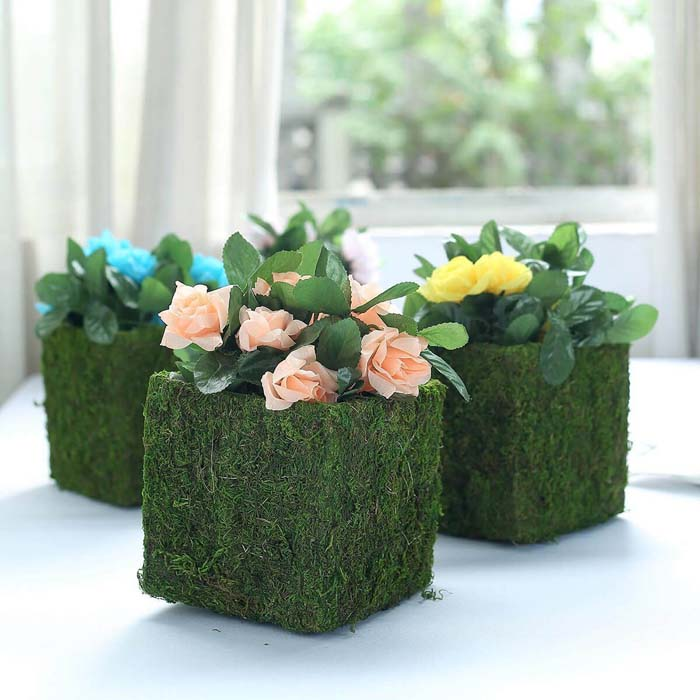 Natural Inspiration With Moss Covered Planters #spring #planter #decorhomeideas