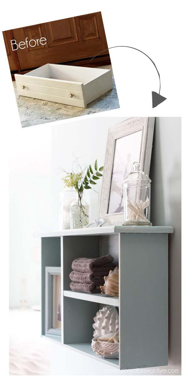 Old Drawer Becomes Divided Shadow Box Shelf #diy #weekendproject #decorhomeideas